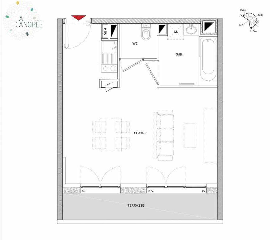 Plan A34, appartement neuf type T1 au 3ème étage, orienté Ouest faisant 33m² du programme neuf LA CANOPÉE à Amiens.