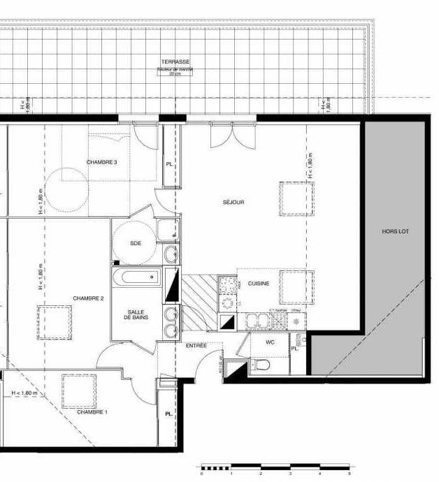 Plan A34, appartement neuf type T4 au 3ème étage, faisant 85m² du programme neuf PARC TOLOSAN à Castanet-Tolosan.