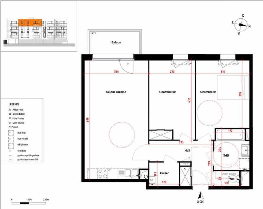 Plan A34, appartement neuf type T3 au 3ème étage, orienté Ouest faisant 68m² du programme neuf Symbioz à Haubourdin.