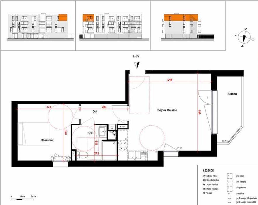 Plan A35, appartement neuf type T2 au 3ème étage, orienté Ouest faisant 45m² du programme neuf Symbioz à Haubourdin.
