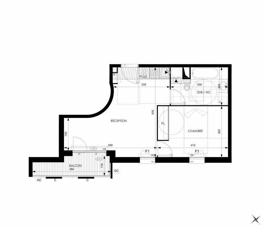 Plan A36, appartement neuf type T2 au 3ème étage, orienté Sud faisant 42m² du programme neuf Cosy à Toulouse.