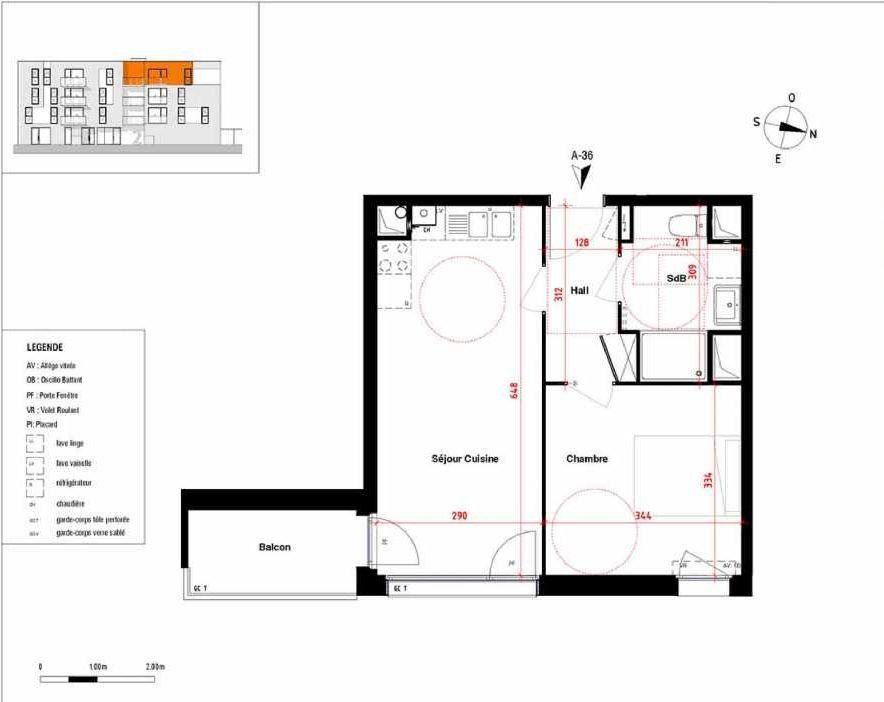 Plan A36, appartement neuf type T2 au 3ème étage, orienté Est faisant 39m² du programme neuf Symbioz à Haubourdin.