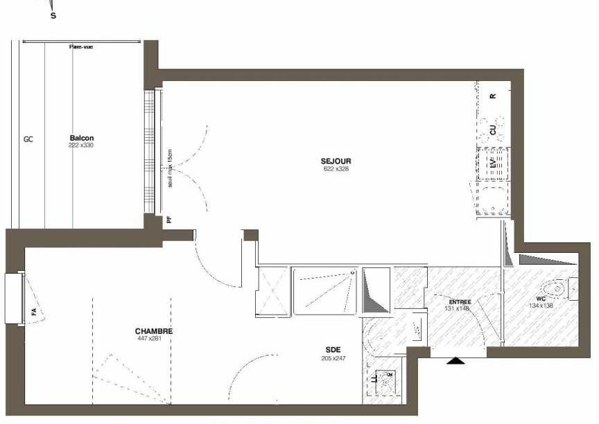 Plan A37, appartement neuf type T2 au 3ème étage, faisant 41m² du programme neuf Les Hauts Romanet à Saint-Herblain.