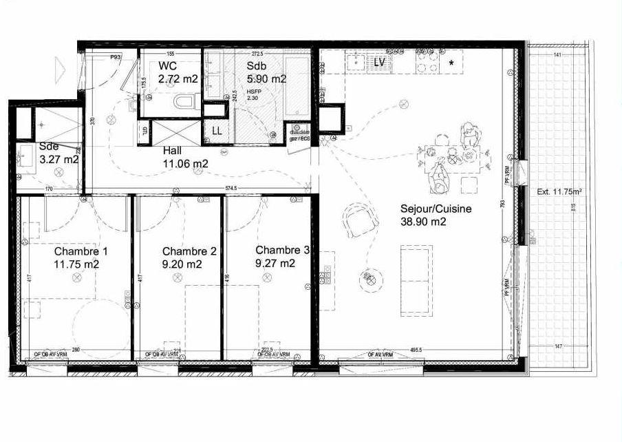 Plan A37, appartement neuf type T4 au 3ème étage, orienté Sud faisant 92m² du programme neuf LES JARDINS DU 126 à Croix.