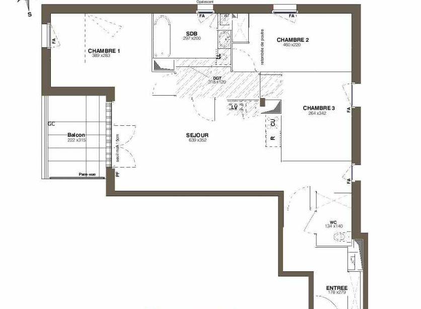 Plan A38, appartement neuf type T4 au 3ème étage, faisant 78m² du programme neuf Les Hauts Romanet à Saint-Herblain.