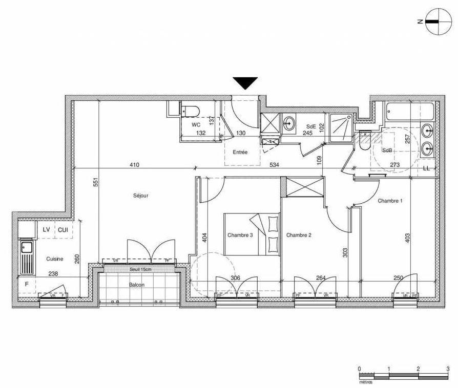 Plan A401, appartement neuf type T4 au Rez de chaussée, faisant 77m² du programme neuf 12 Liberty à Chennevières-sur-Marne.