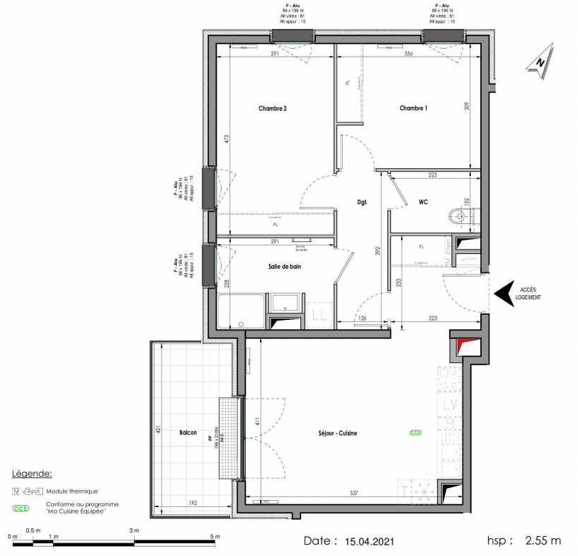 Plan A401, appartement neuf type T3 au Rez de chaussée, orienté Ouest faisant 66m² du programme neuf LES FABRIKS DE MAI à Clermont-Ferrand.