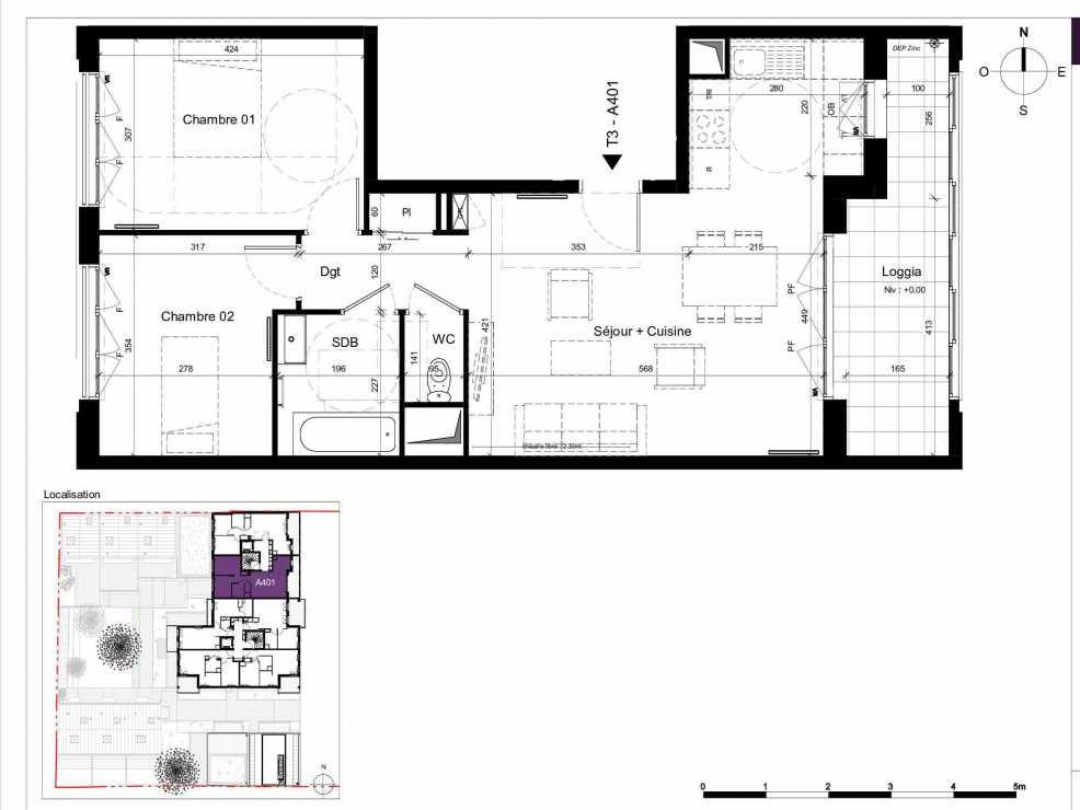 Plan A401, appartement neuf type T3 au 4ème étage, orienté Est faisant 63m² du programme neuf SESAME à Rennes.