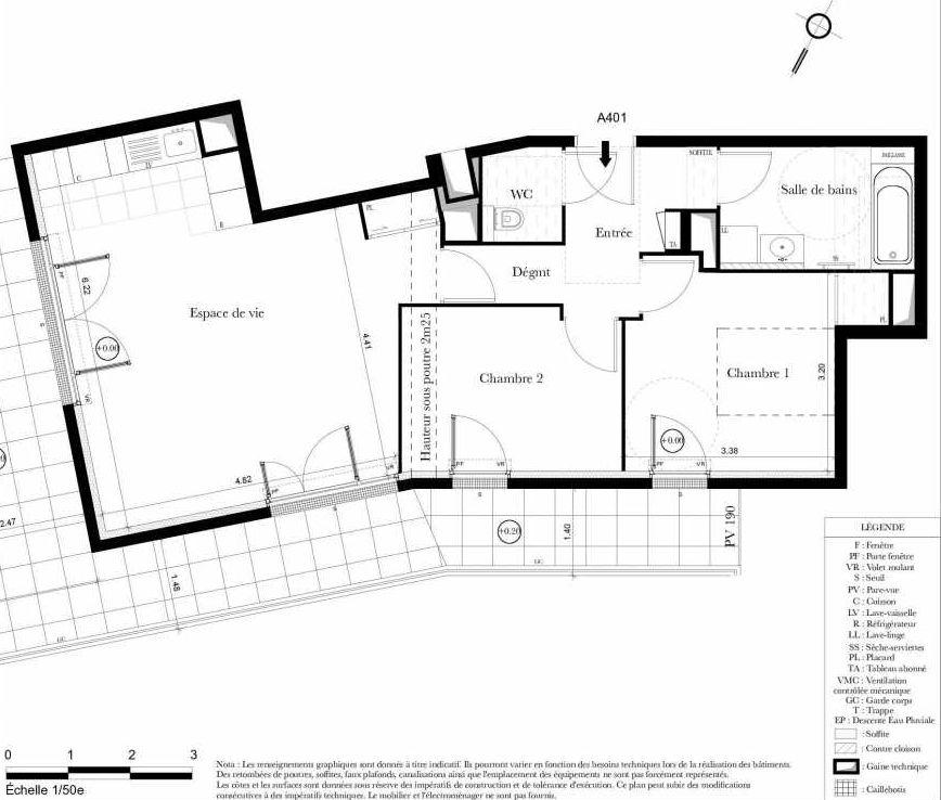 Plan A401, appartement neuf type T3 au 4ème étage, orienté Sud faisant 65m² du programme neuf Symbiose à Bezons.