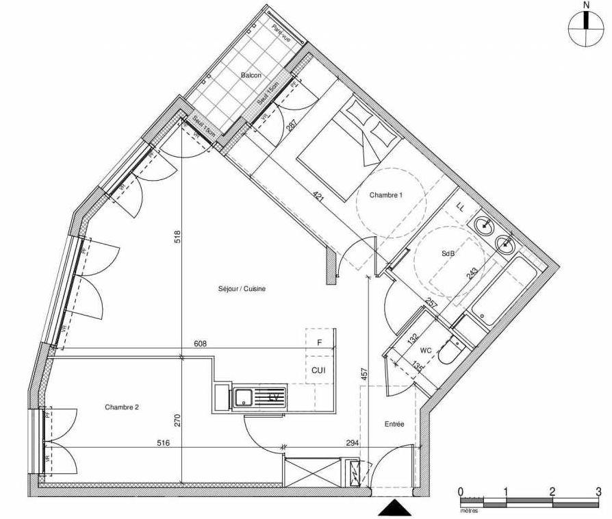 Plan A402, appartement neuf type T3 au Rez de chaussée, faisant 65m² du programme neuf 12 Liberty à Chennevières-sur-Marne.