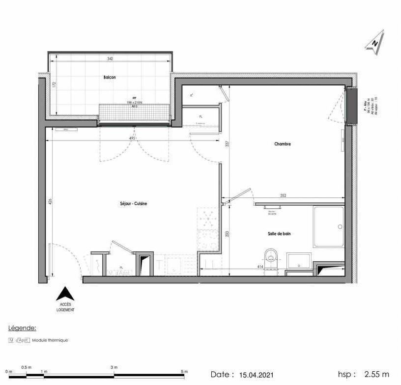 Plan A402, appartement neuf type T2 au Rez de chaussée, orienté Nord faisant 40m² du programme neuf LES FABRIKS DE MAI à Clermont-Ferrand.
