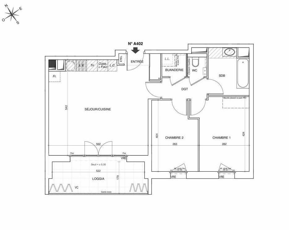 Plan A402, appartement neuf type T3 au 4ème étage, faisant 66m² du programme neuf NOVA à Annemasse.