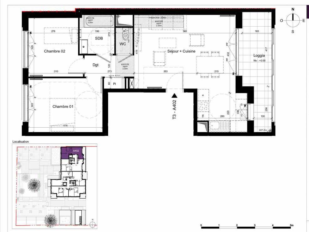 Plan A402, appartement neuf type T3 au 4ème étage, orienté Est faisant 62m² du programme neuf SESAME à Rennes.