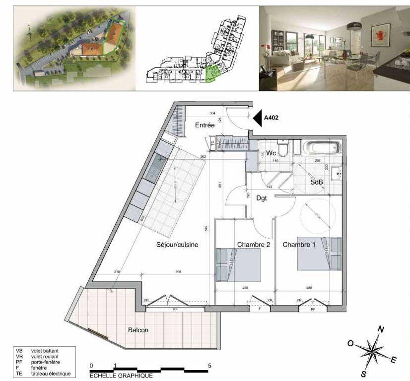 Plan A402, appartement neuf type T3 au 4ème étage, orienté Sud faisant 66m² du programme neuf TOULON ESTEREL à Toulon.