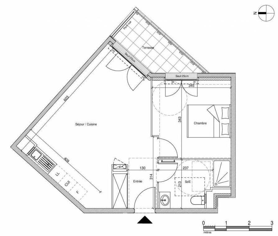 Plan A403, appartement neuf type T2 au Rez de chaussée, faisant 45m² du programme neuf 12 Liberty à Chennevières-sur-Marne.