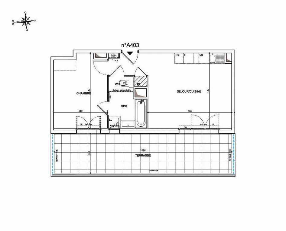 Plan A403, appartement neuf type T2 au 4ème étage, orienté Est faisant 43m² du programme neuf Coeur Mougins - Jardins des Sens et Jardins en Vue à Mougins.