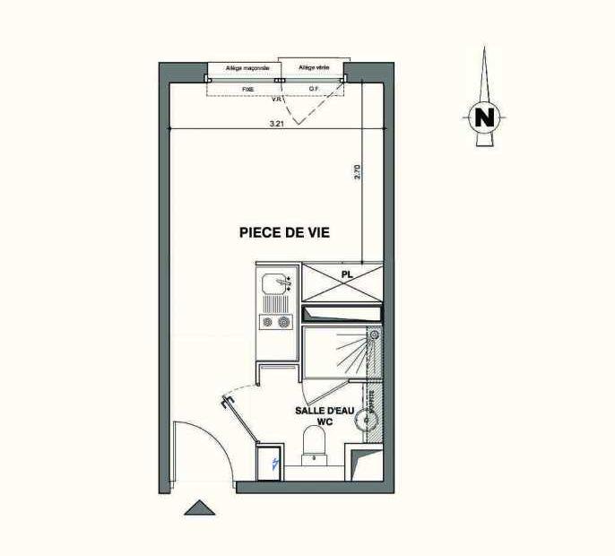 Plan A403, appartement neuf type T1 au 4ème étage, faisant 18m² du programme neuf Kaiman - Nimes à Nîmes.