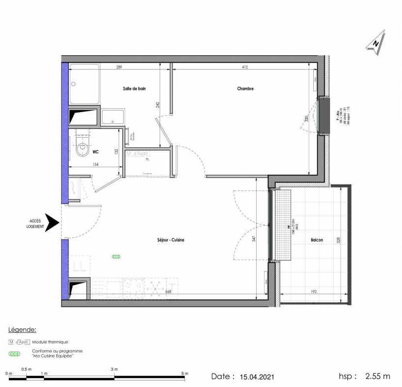 Plan A403, appartement neuf type T2 au Rez de chaussée, orienté Est faisant 41m² du programme neuf LES FABRIKS DE MAI à Clermont-Ferrand.