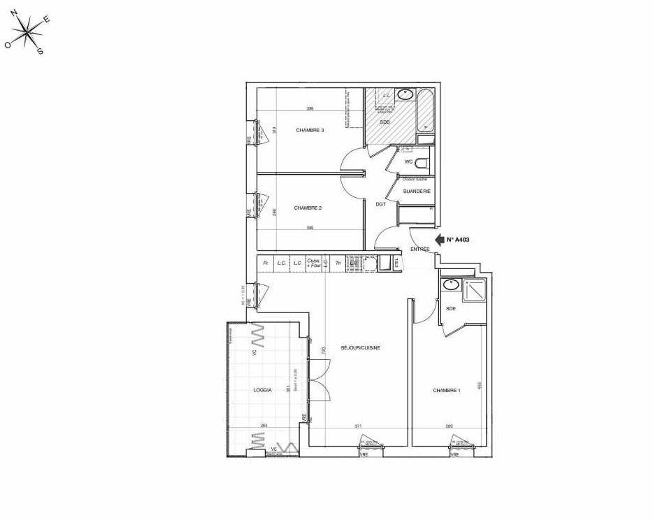 Plan A403, appartement neuf type T4 au 4ème étage, faisant 88m² du programme neuf NOVA à Annemasse.