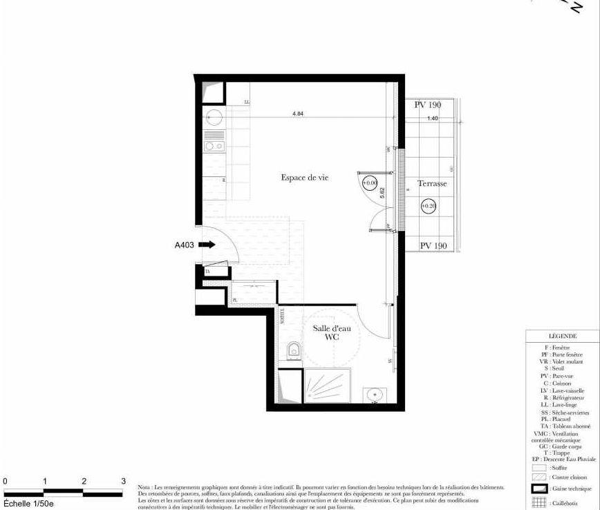 Plan A403, appartement neuf type T1 au 4ème étage, orienté Ouest faisant 33m² du programme neuf Symbiose à Bezons.