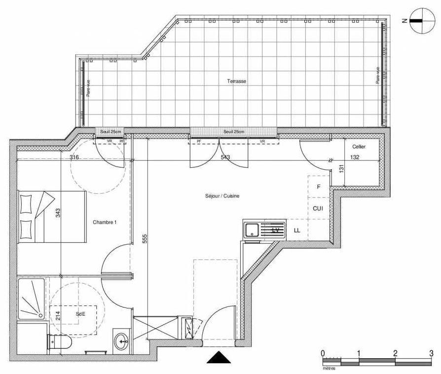 Plan A404, appartement neuf type T2 au Rez de chaussée, faisant 42m² du programme neuf 12 Liberty à Chennevières-sur-Marne.