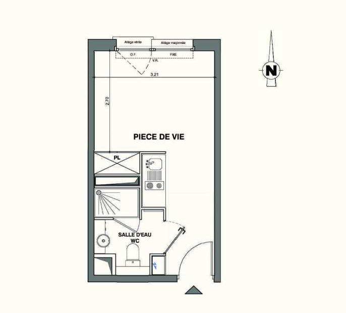 Plan A404, appartement neuf type T1 au 4ème étage, faisant 18m² du programme neuf Kaiman - Nimes à Nîmes.