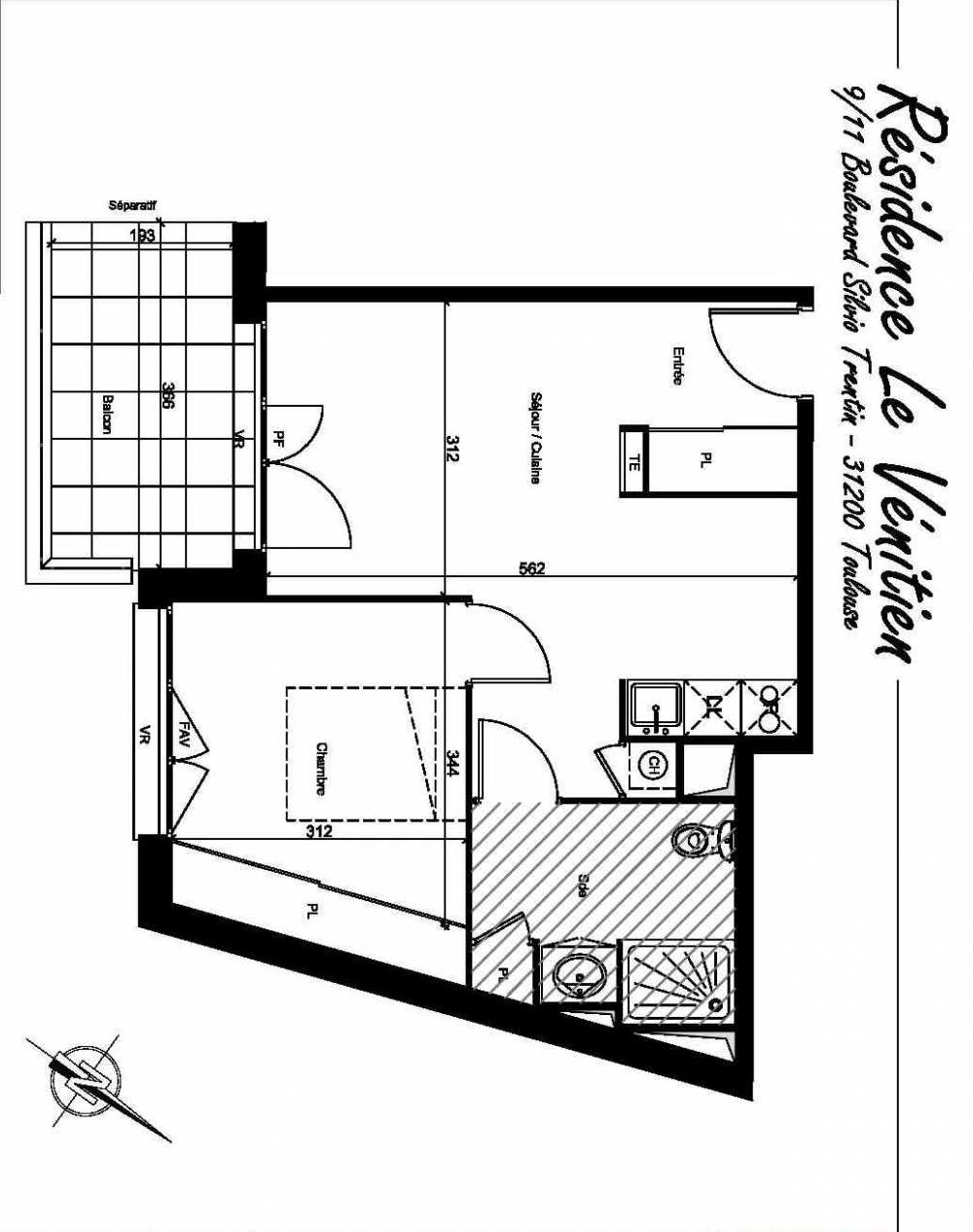 Plan A404, appartement neuf type T2 au 4ème étage, orienté Sud faisant 40m² du programme neuf Le Venitien à Toulouse.