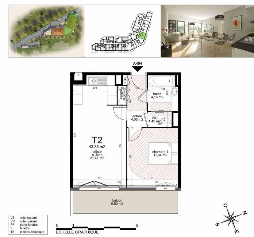 Plan A404, appartement neuf type T2 au 4ème étage, orienté Sud faisant 43m² du programme neuf TOULON ESTEREL à Toulon.