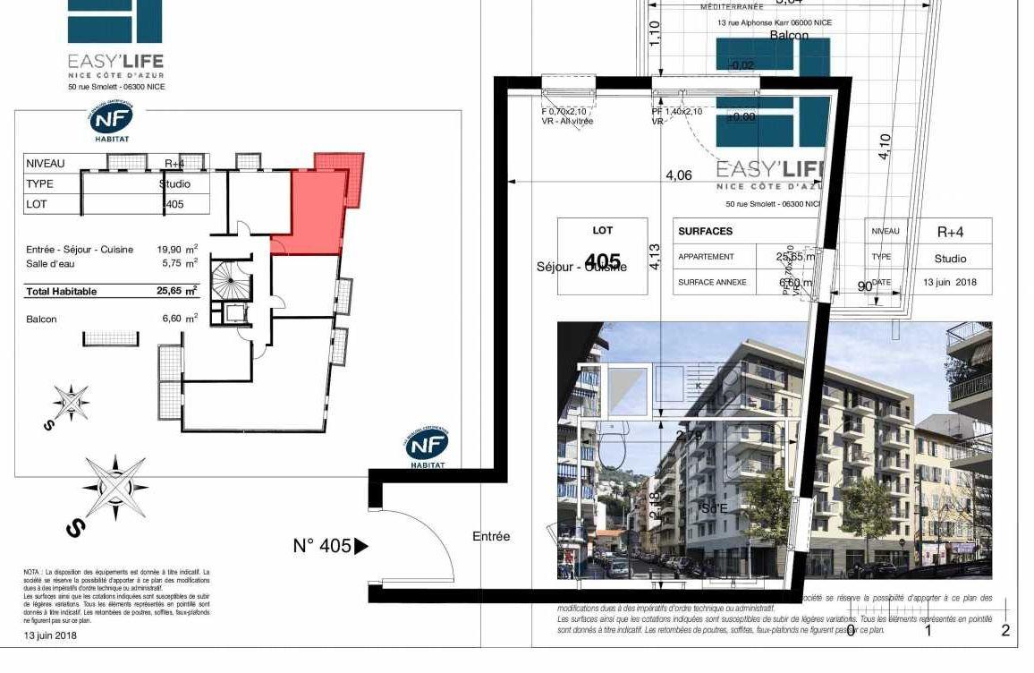 Plan A405, appartement neuf type T1 au 4ème étage, orienté Ouest faisant 26m² du programme neuf Easy Life à Nice.