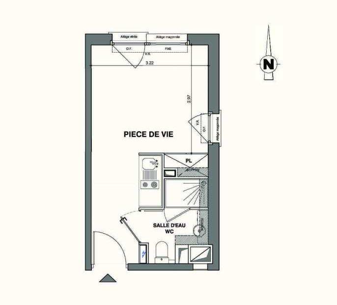 Plan A405, appartement neuf type T1 au 4ème étage, faisant 19m² du programme neuf Kaiman - Nimes à Nîmes.