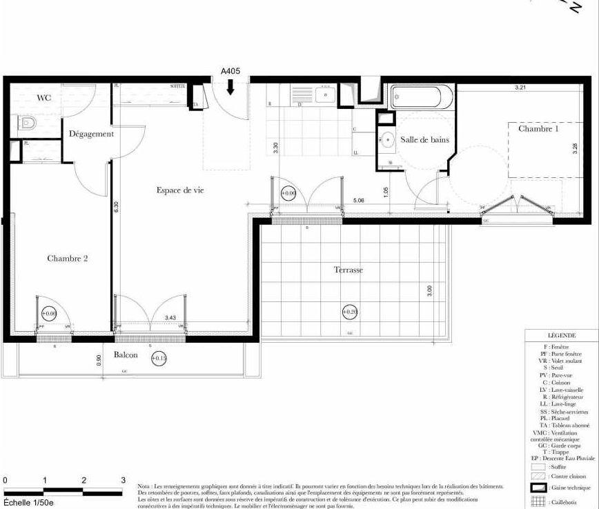 Plan A405, appartement neuf type T3 au 4ème étage, orienté Est faisant 63m² du programme neuf Symbiose à Bezons.