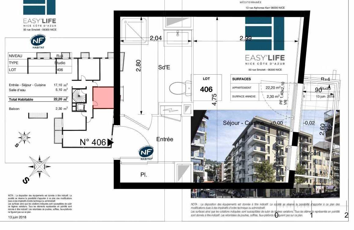 Plan A406, appartement neuf type T1 au 4ème étage, orienté Est faisant 22m² du programme neuf Easy Life à Nice.