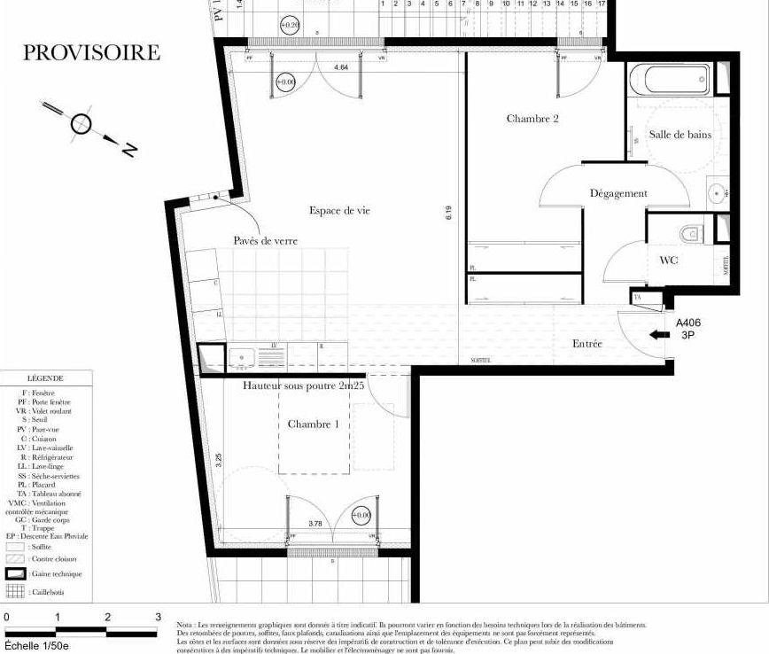 Plan A406, appartement neuf type T4 au 4ème étage, orienté Sud faisant 72m² du programme neuf Symbiose à Bezons.