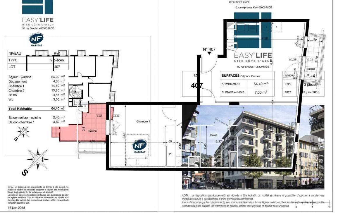Plan A407, appartement neuf type T3 au 4ème étage, orienté Sud faisant 64m² du programme neuf Easy Life à Nice.