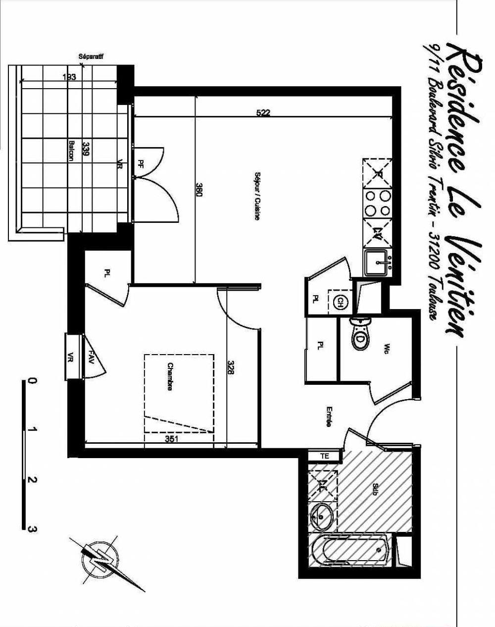 Plan A407, appartement neuf type T2 au 4ème étage, orienté Sud faisant 46m² du programme neuf Le Venitien à Toulouse.