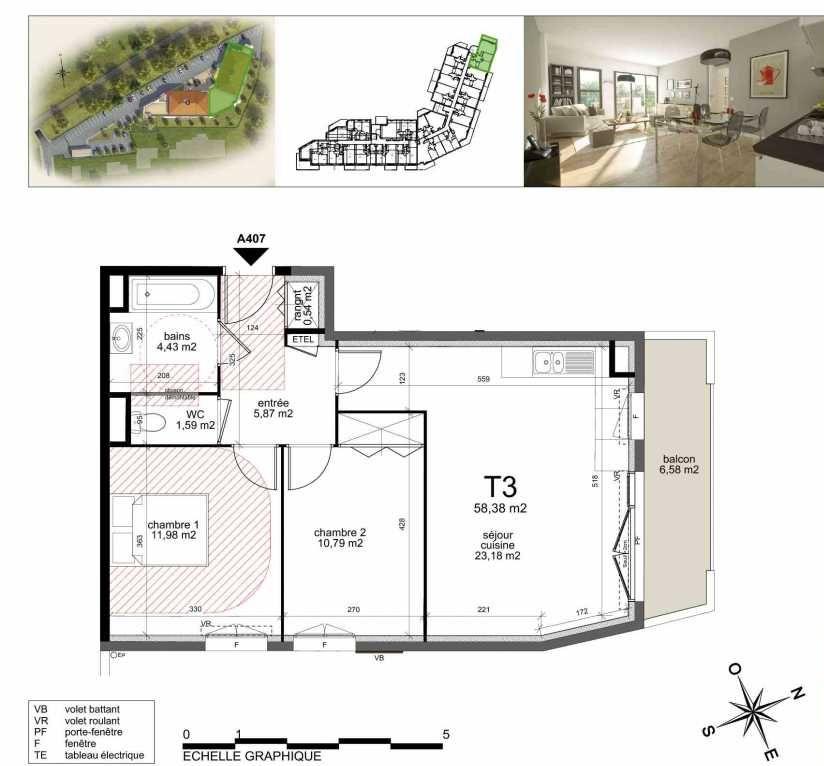 Plan A407, appartement neuf type T3 au 4ème étage, orienté Sud faisant 58m² du programme neuf TOULON ESTEREL à Toulon.