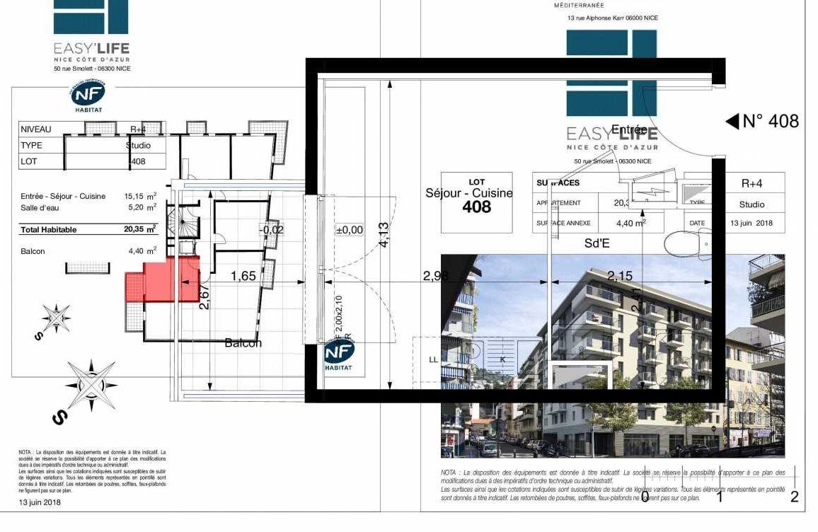 Plan A408, appartement neuf type T1 au 4ème étage, orienté Est faisant 20m² du programme neuf Easy Life à Nice.