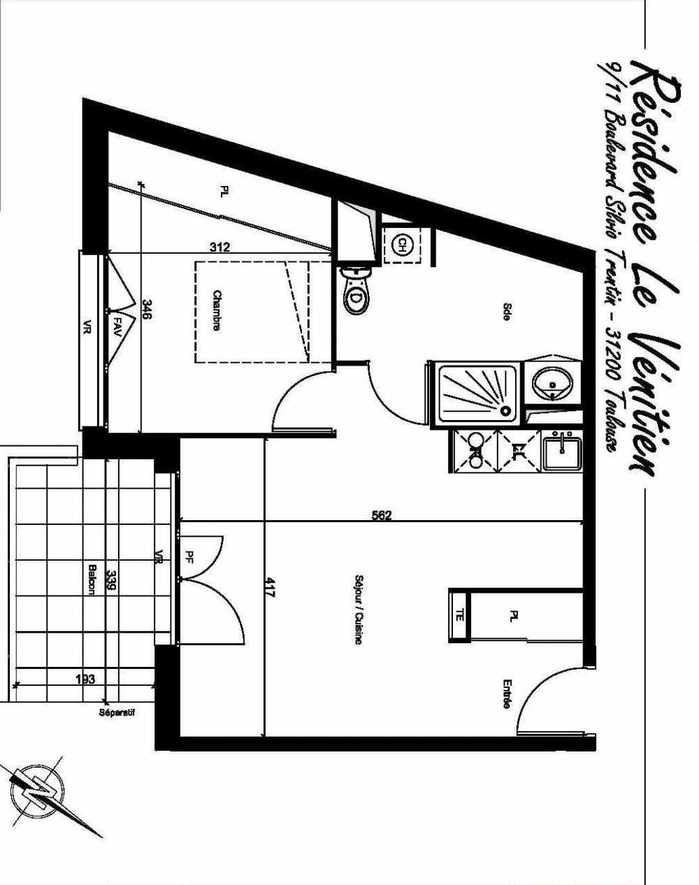 Plan A408, appartement neuf type T2 au 4ème étage, orienté Sud faisant 43m² du programme neuf Le Venitien à Toulouse.