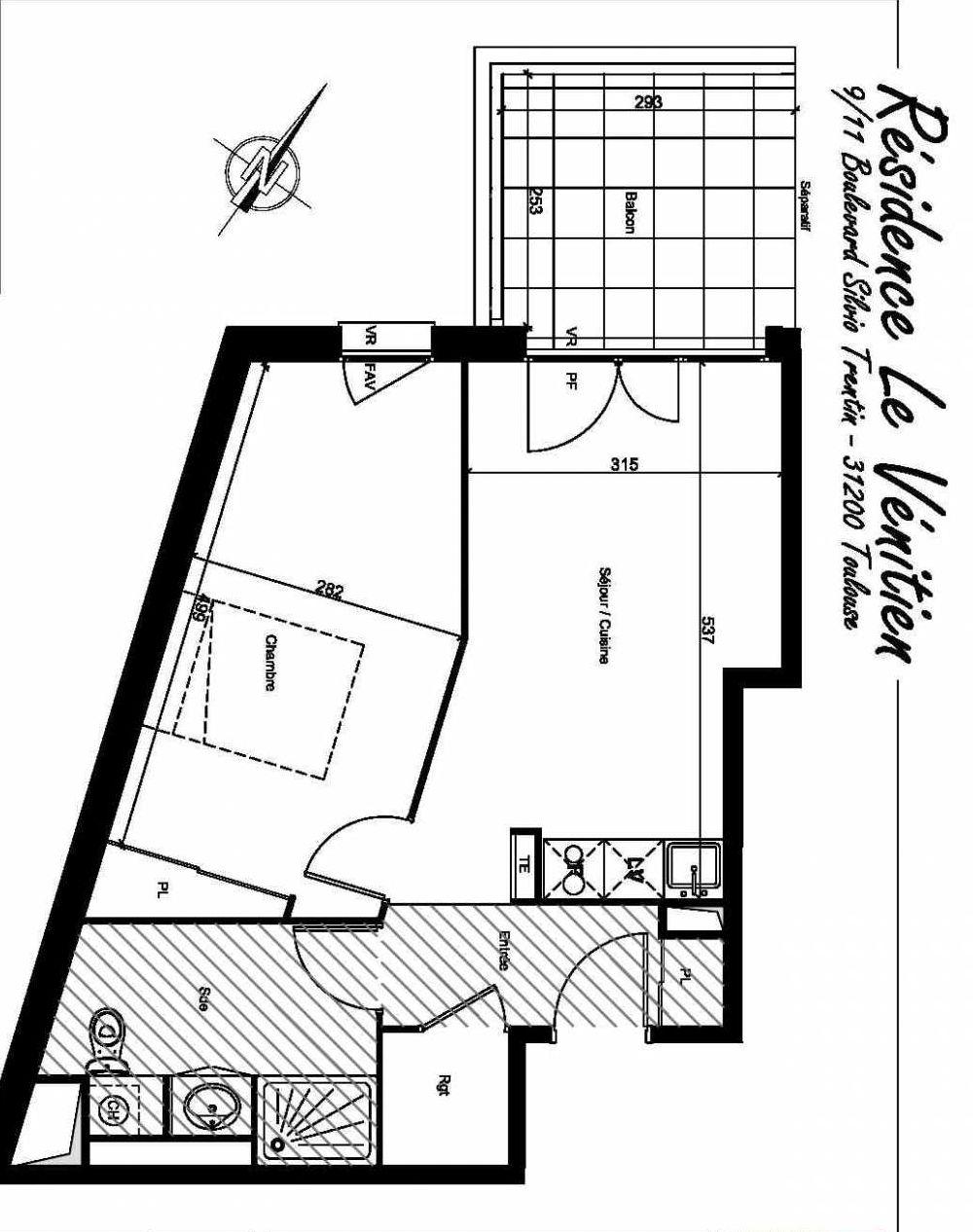 Plan A409, appartement neuf type T2 au 4ème étage, orienté Nord faisant 44m² du programme neuf Le Venitien à Toulouse.