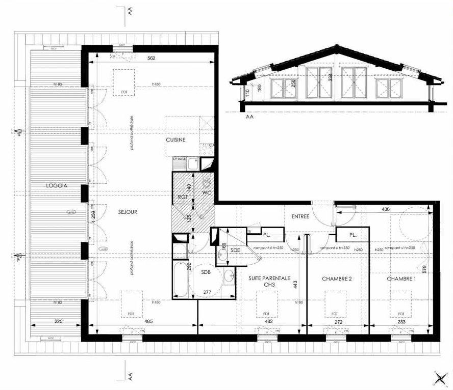 Plan A41, appartement neuf type T4 au 4ème étage, orienté Sud faisant 96m² du programme neuf Cosy à Toulouse.