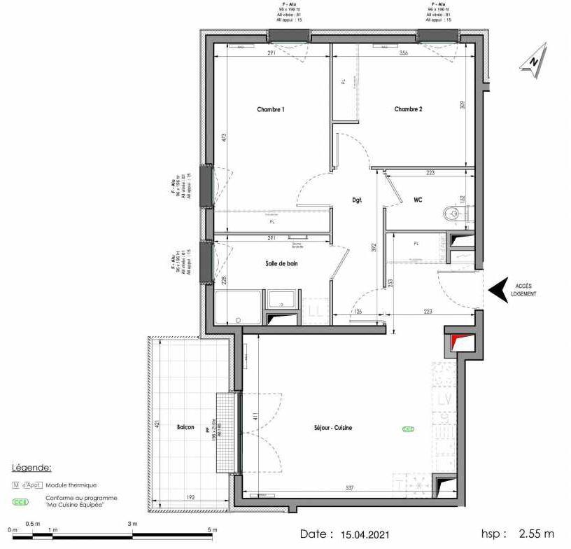 Plan A411, appartement neuf type T3 au 1er étage, orienté Ouest faisant 66m² du programme neuf LES FABRIKS DE MAI à Clermont-Ferrand.