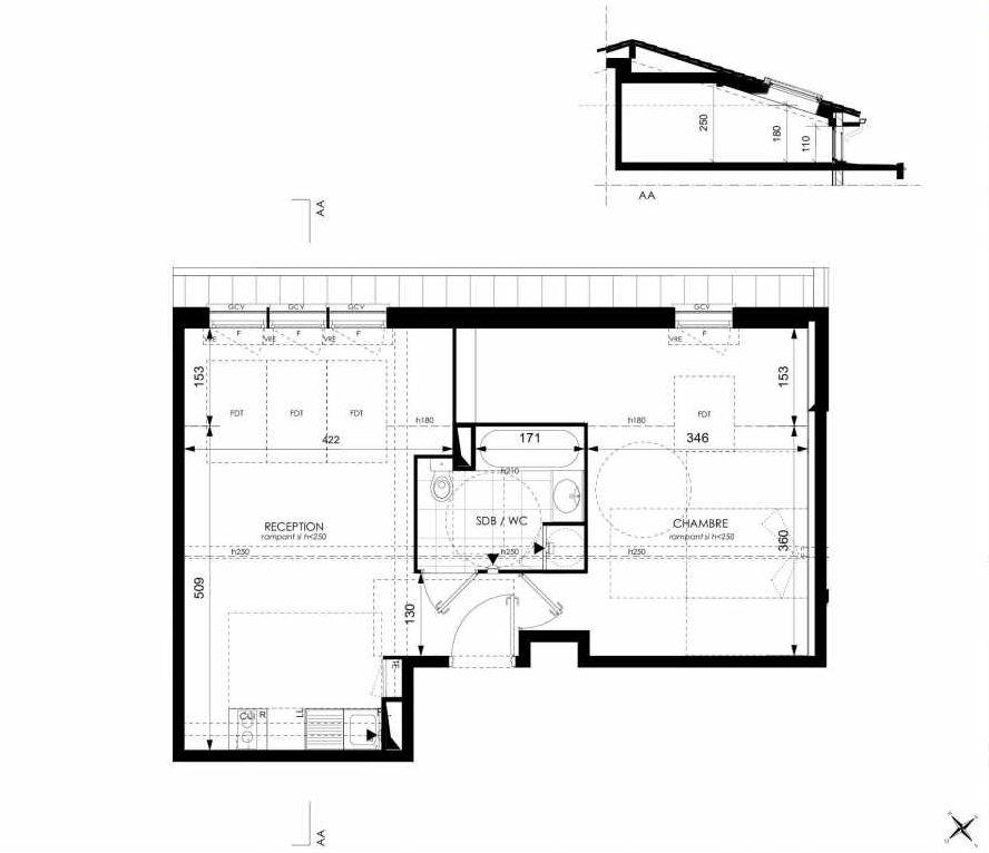Plan A42, appartement neuf type T2 au 4ème étage, orienté Est faisant 42m² du programme neuf Cosy à Toulouse.