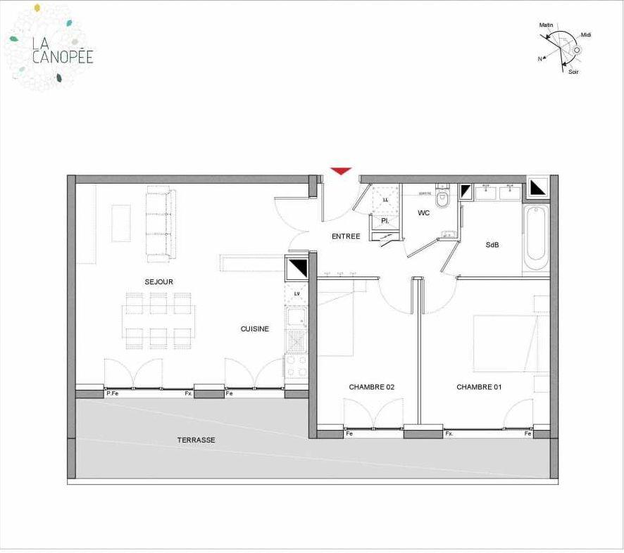 Plan A42, appartement neuf, orienté Ouest faisant 61m² du programme neuf La Canopée à Amiens.