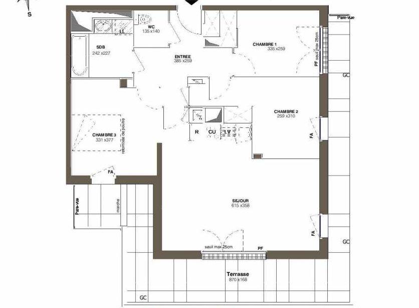 Plan A42, appartement neuf type T4 au 4ème étage, faisant 76m² du programme neuf Les Hauts Romanet à Saint-Herblain.