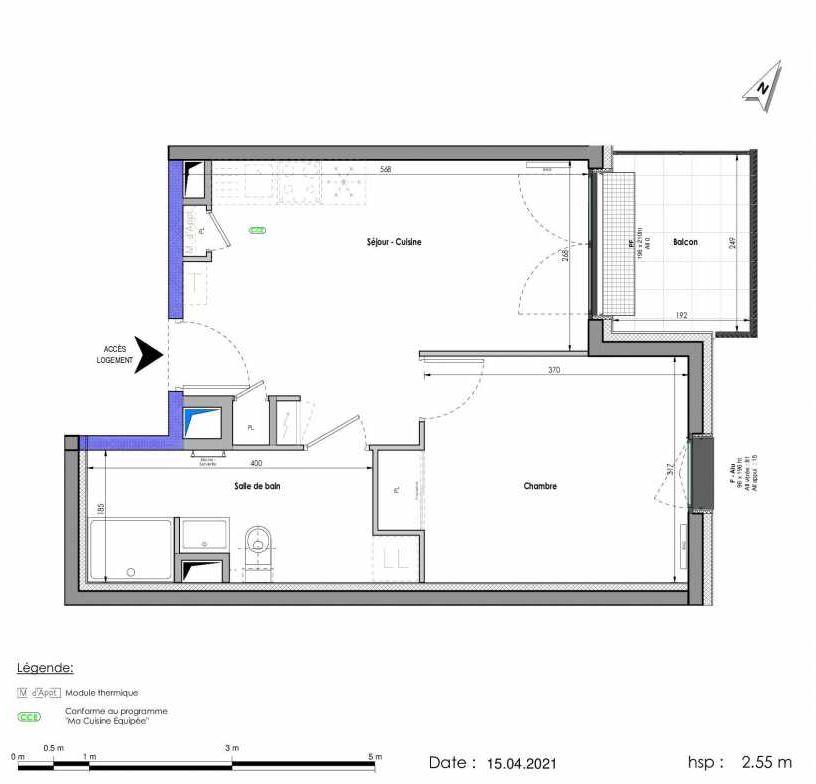 Plan A424, appartement neuf type T2 au 2ème étage, orienté Est faisant 38m² du programme neuf LES FABRIKS DE MAI à Clermont-Ferrand.