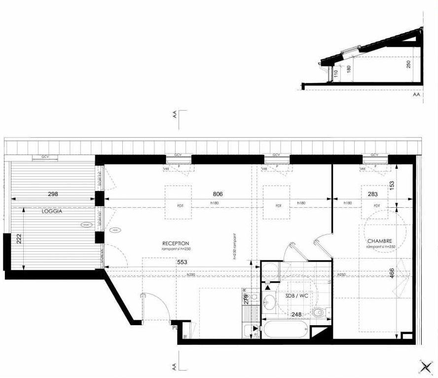Plan A43, appartement neuf type T2 au 4ème étage, orienté Ouest faisant 49m² du programme neuf Cosy à Toulouse.