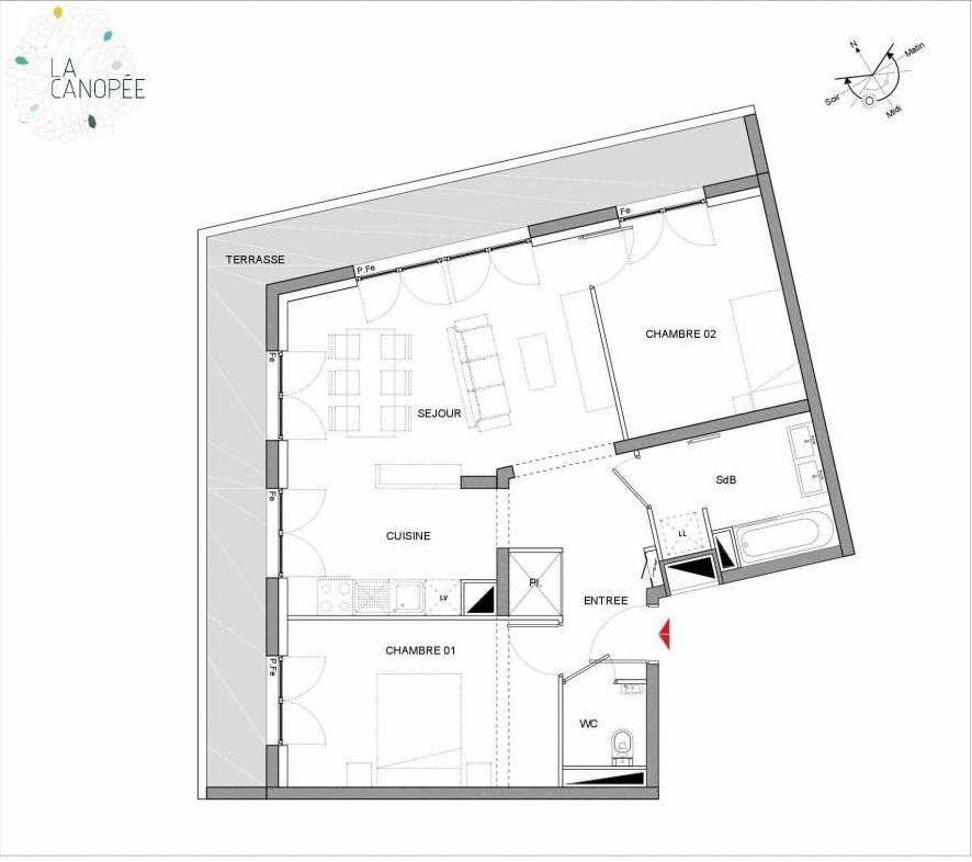 Plan A43, appartement neuf, orienté Ouest faisant 65m² du programme neuf La Canopée à Amiens.