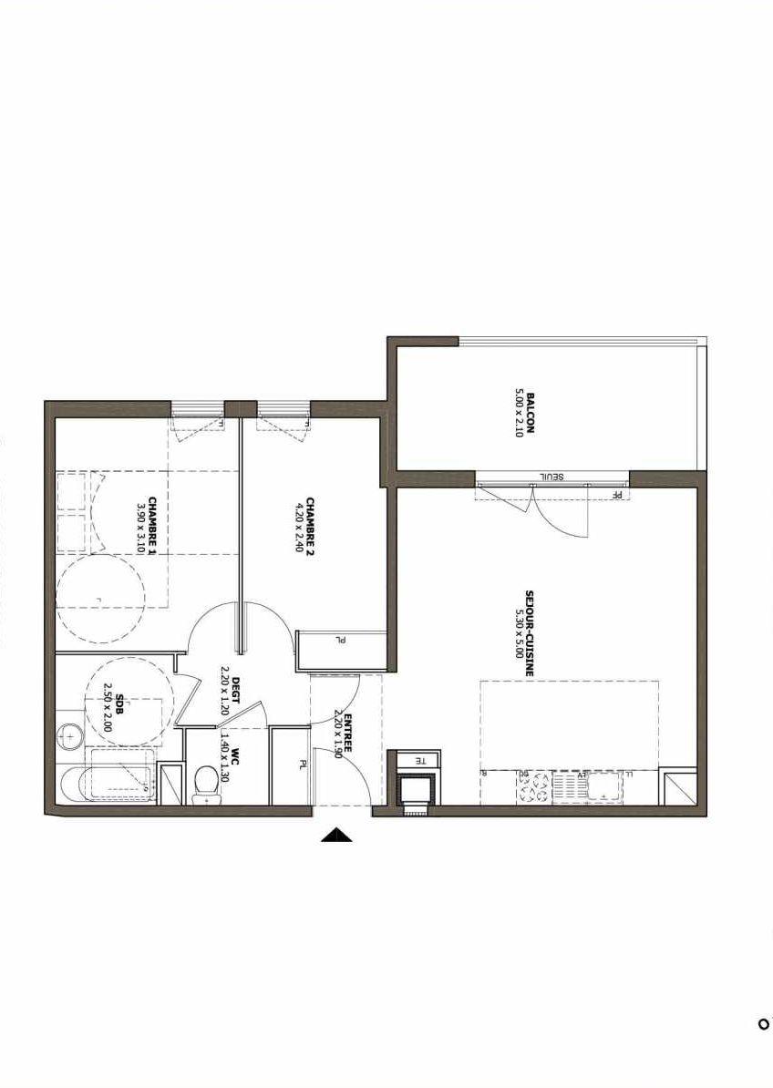 Plan A44, appartement neuf type T3 au 4ème étage, faisant 62m² du programme neuf Les Hauts de Clerissy à Marseille.