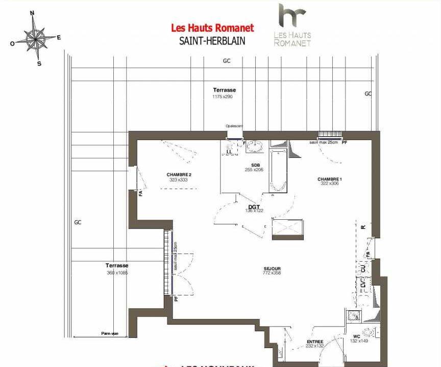Plan A45, appartement neuf type T3 au 4ème étage, orienté Ouest faisant 60m² du programme neuf Les Hauts Romanet à Saint-Herblain.