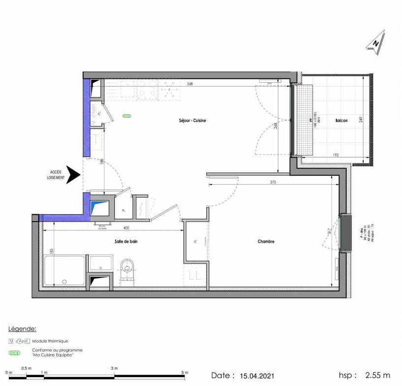 Plan A454, appartement neuf type T2 au 5ème étage, orienté Est faisant 38m² du programme neuf LES FABRIKS DE MAI à Clermont-Ferrand.